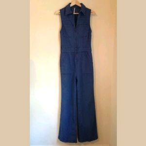 Free People Wind and More Denim Jumpsuit Sz 2